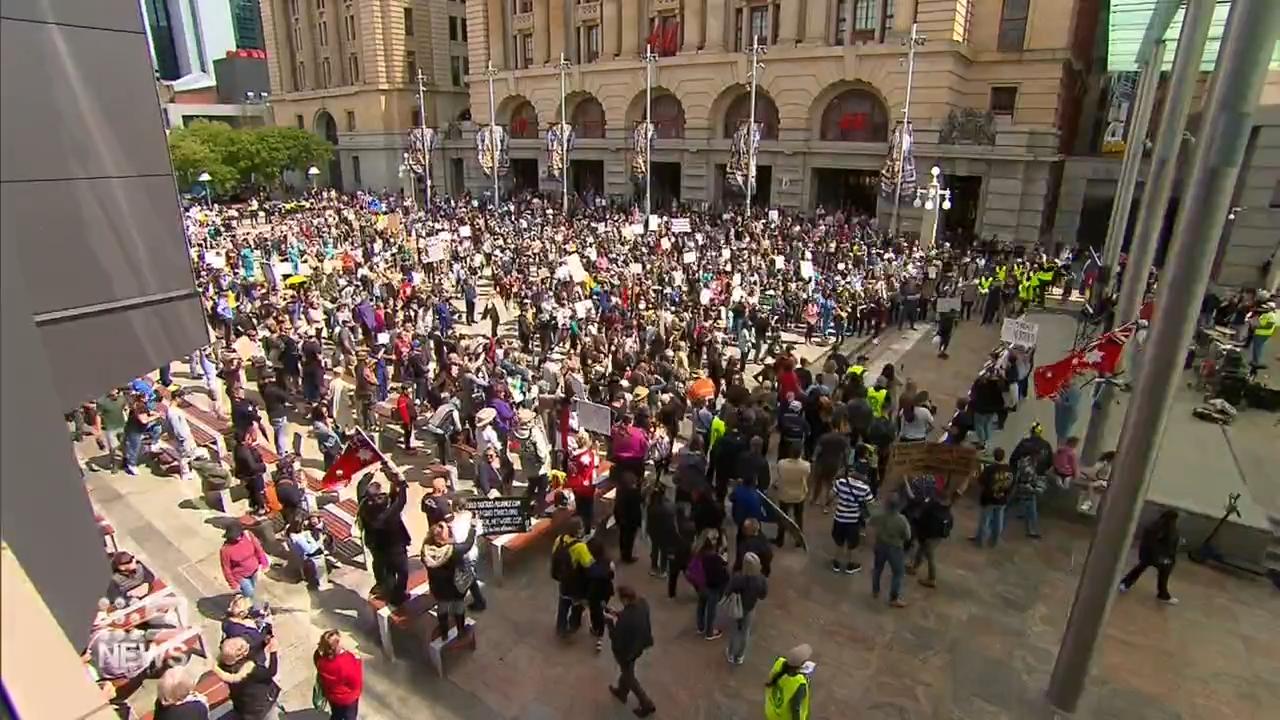 Protesters gather in Perth CBD