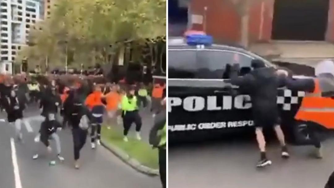 Victoria protesters attack police vehicles