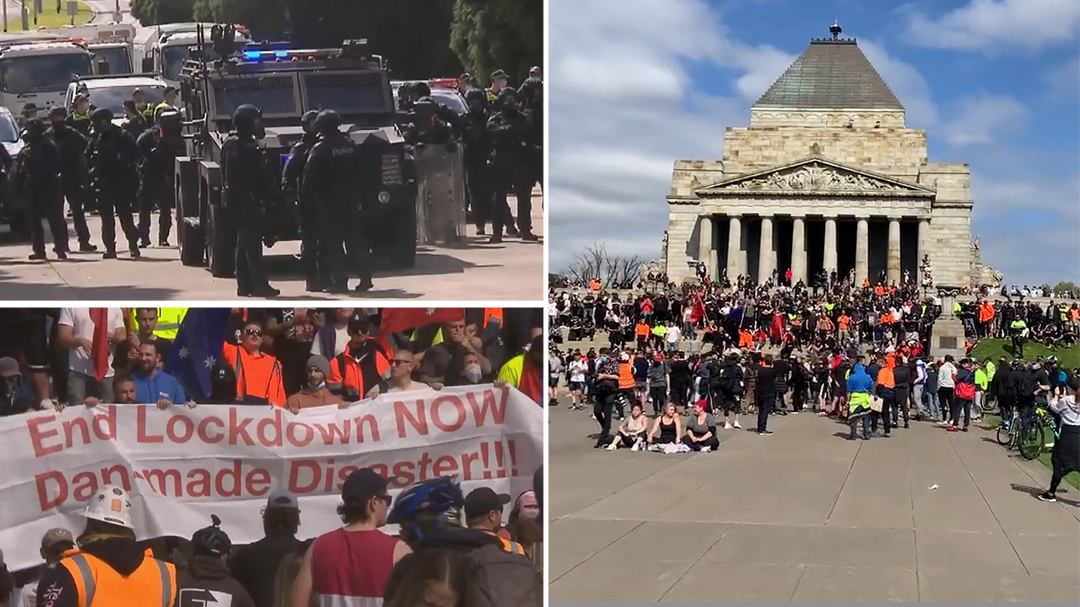 Police out in force as protesters swarm Melbourne's Shrine of Remembrance