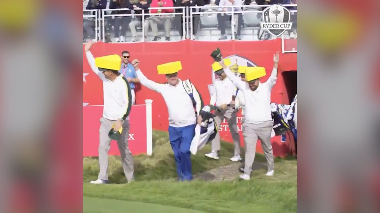 Team Europe wear 'Cheeseheads' at Ryder Cup practice