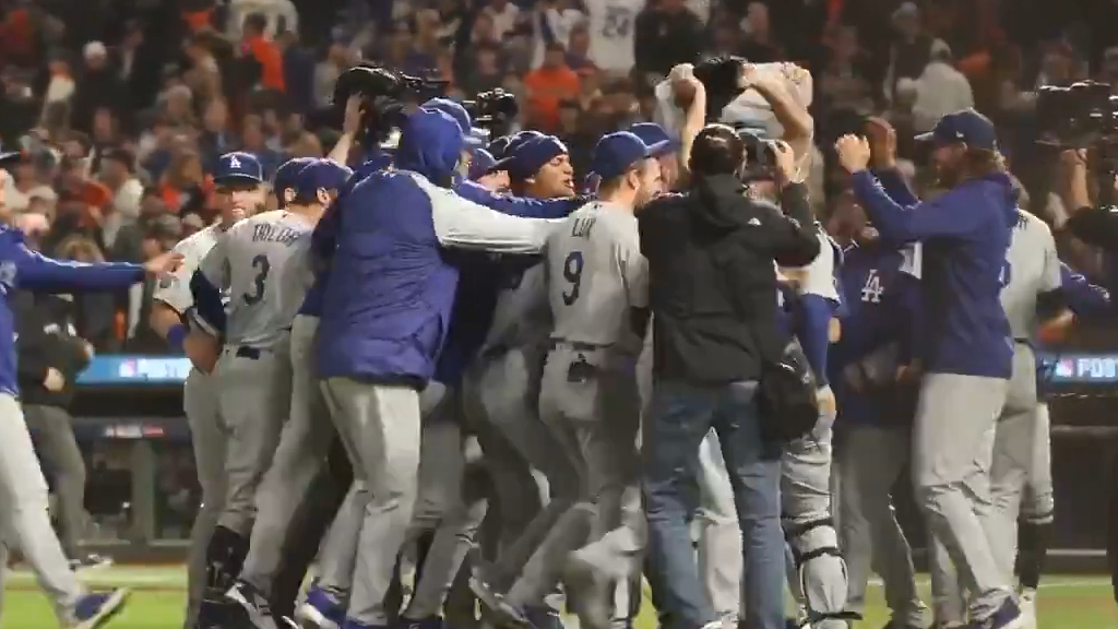 Dodgers celebrate NLDS win