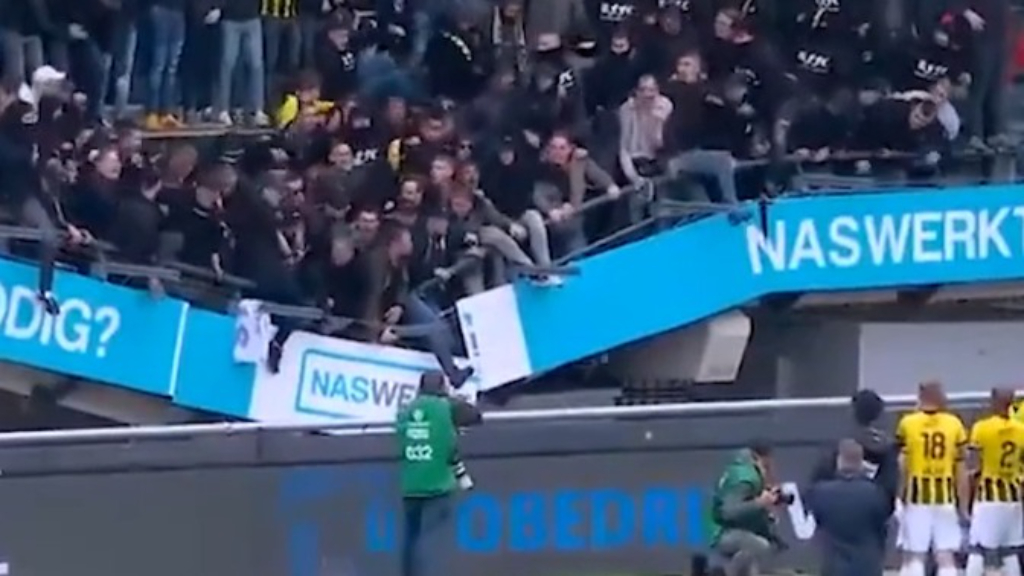 Stand collapses at Goffert Stadium