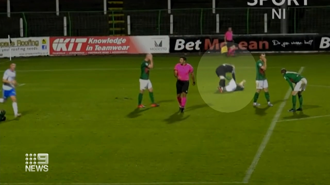 Irish goalie sees red for attacking teammate