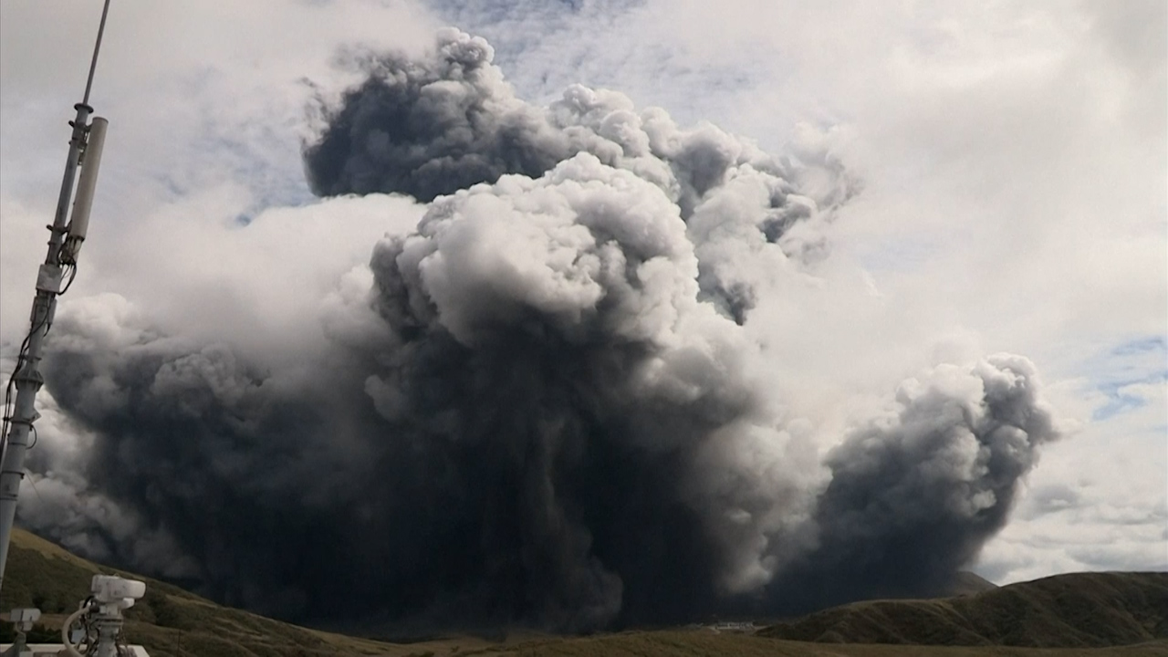 Volcano in southern Japan erupts