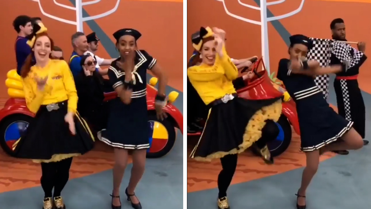 Yellow Wiggles Emma Watkins and Tsehay Hawkins do a TikTok dance together