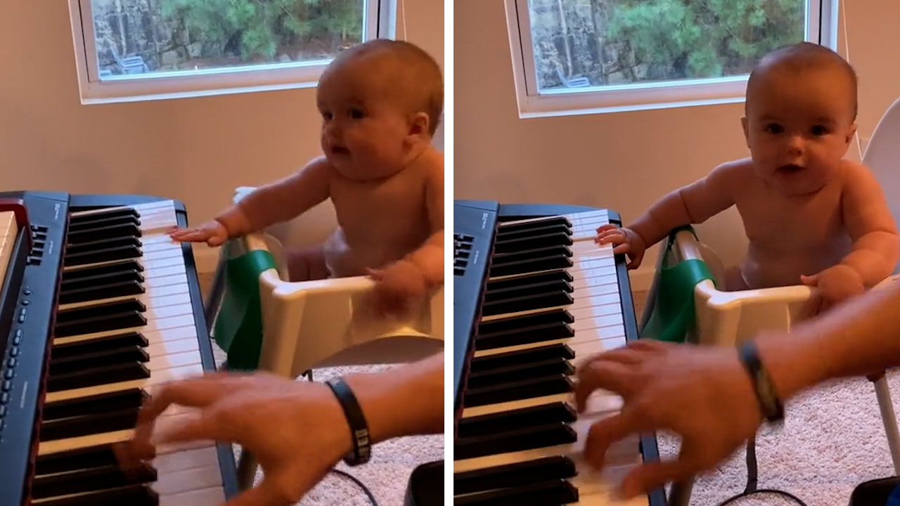Adorable baby goes viral for grooving along to parent's music
